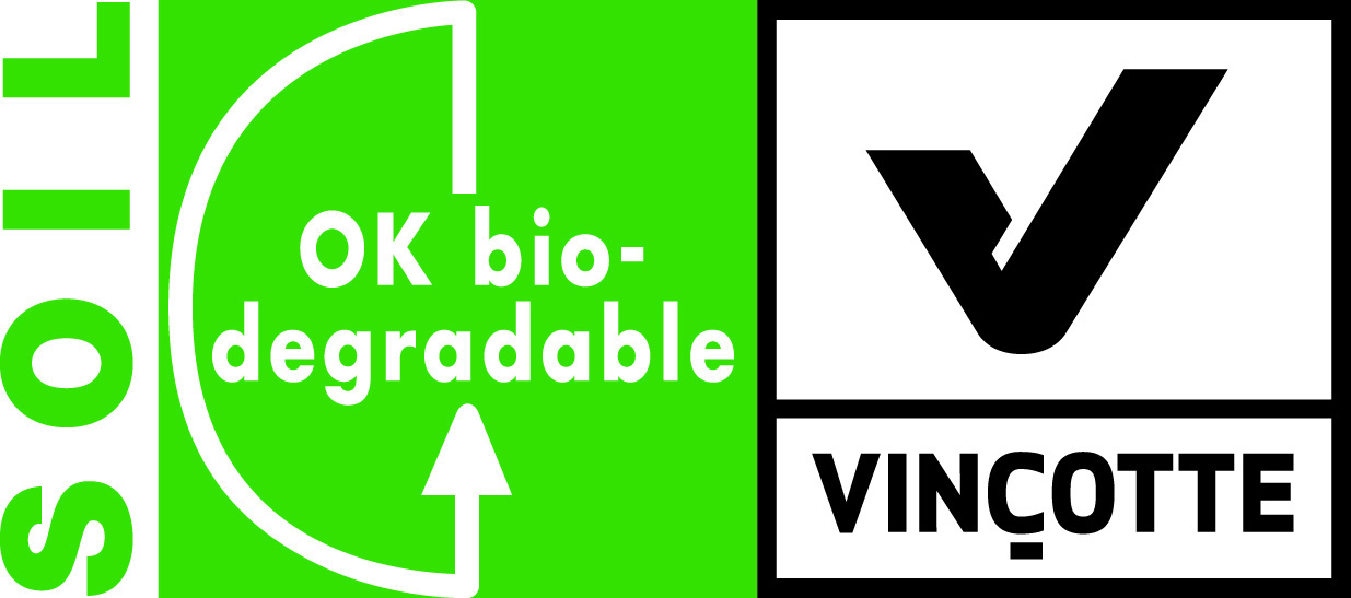 Logo biodegradation in soil Vinçotte